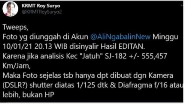 Cuitan Roy Suryo soal foto yang diunggah Ali Ngabalin. (Twitter/KRMTRoySuryo2)