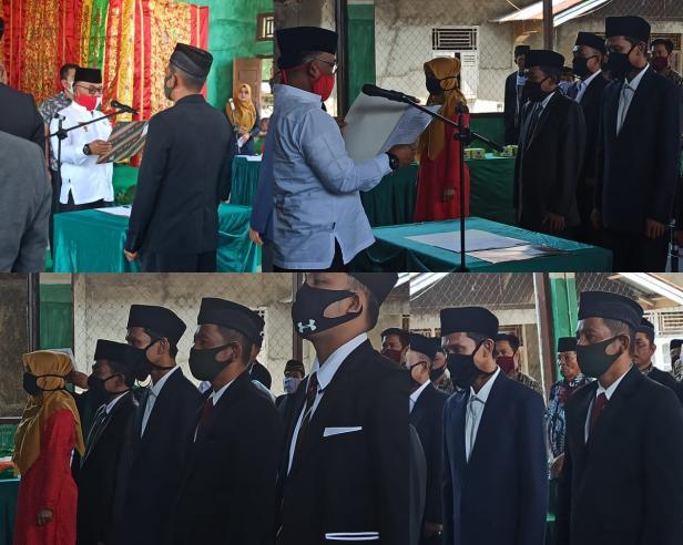 Prosesi saat berlangsungnya pelantikan dan pengambilan sumpah anggota Bamus Nagari Kapa periode 2020-2026 oleh Bupati Pasaman Barat, Yulianto.