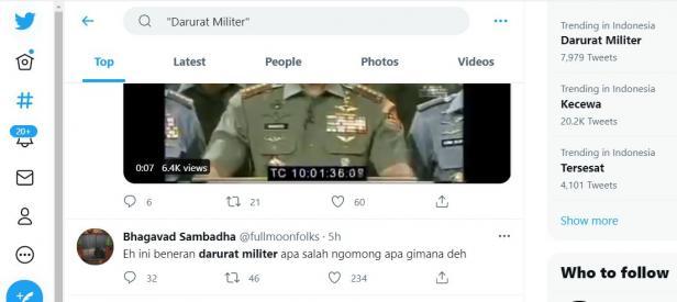darurat militer trending di twitter