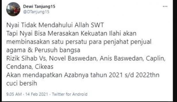 Dewi Tanjung doakan Anies Baswedan kena azab (Twitter/dtanjung15)
