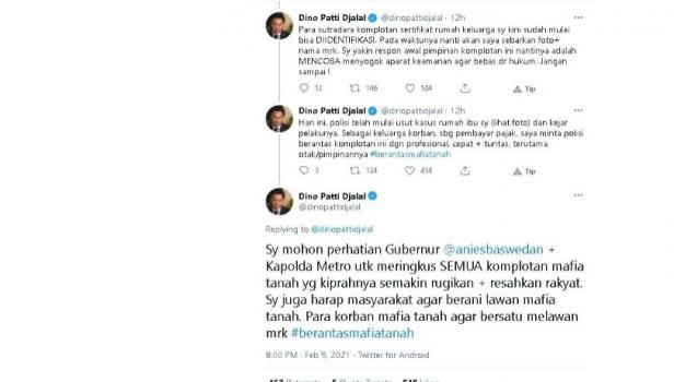 Dino Patti Djalal minta Anies Baswedan ikut meringkus mafia tanah. - (Twitter/@dinopattidjalal)