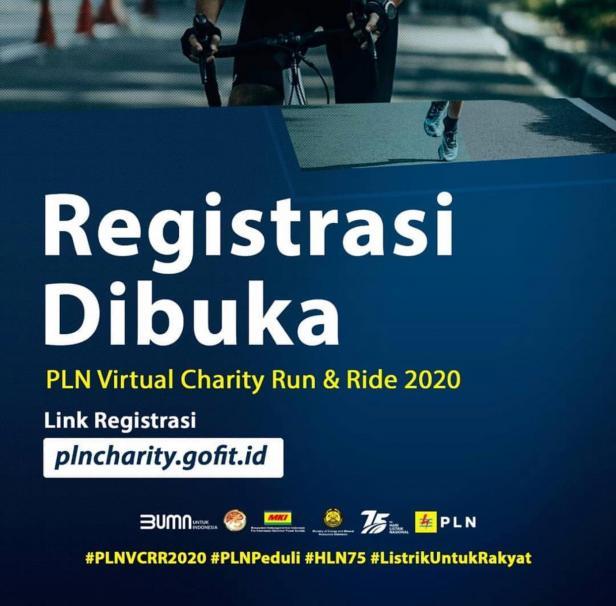 PLN menggandeng Masyarakat Ketenagalistrikan Indonesia (MKI) menggelar kegiatan virtual charity run and ride pada 16-28 Oktober 2020.