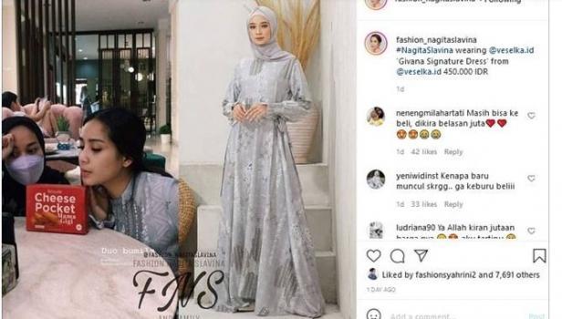 Gamis Nagita Slavina Harganya Cuma Segini, Warganet: Cocok Nih Buat Lebaran. (Instagram/@fashion_nagitaslavina)