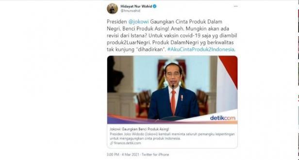 HNW kritik Jokowi gaungkan benci produk asing (Twitter/hnurwahid)