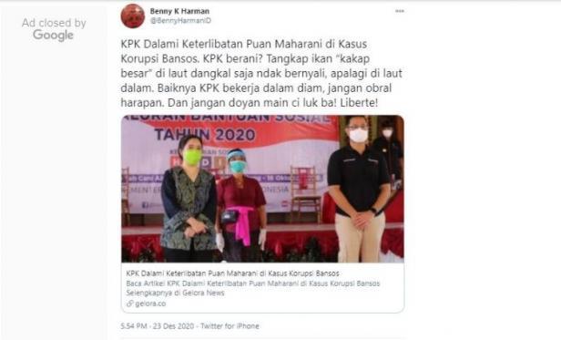 Benny K. Harman tantang KPK selidiki Puan Maharani (Twitter/bennyharmanid)