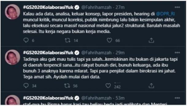 Cuitan Fahri Hamzah Menyinggung Blusukan Mensos Risma, Tugas Mensos, dan Kemiskinan (Twitter).