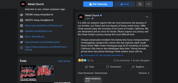 postingan facebook Metal Church