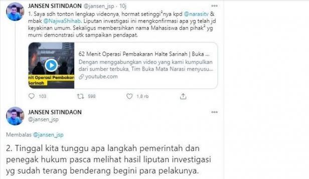 Komentar Jansen Sitindaon soal pembakar Halte Sarinah terungkap (Twitter/jansen_jsp)