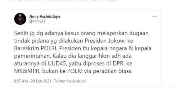 Jimly Assiddiqie sedih Jokowi dipolisikan (Twitter/jimlyas)