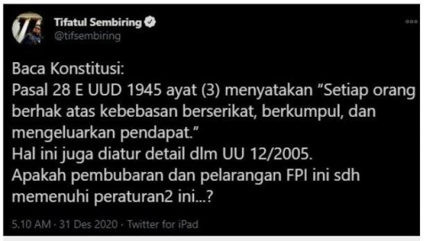 Tifatul Sembiring cuitan. (Twitter/tifsembiring)