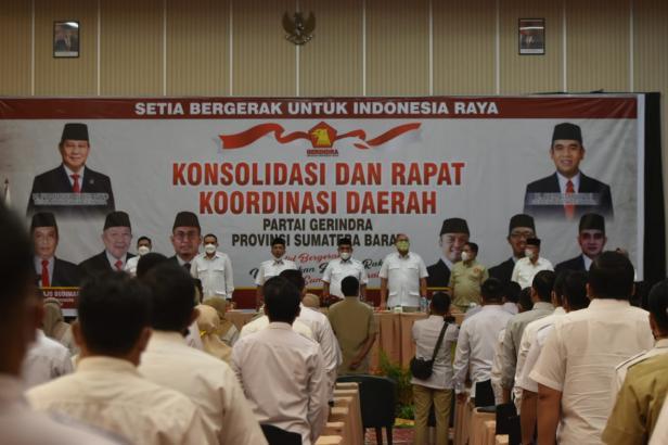 Kader Partai Gerindra menghadiri Rapat Konsolidasi dan Koordinasi Daerah (Rakorda), Rabu (7/4/2021) malam di Kota Bukittinggi.