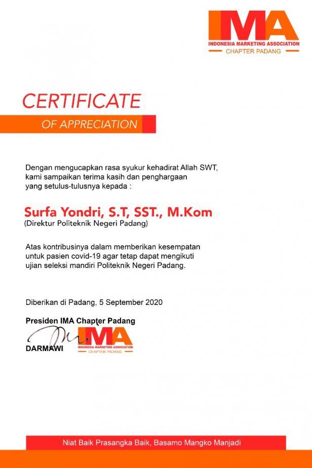 Sertifikat dari IMA Chapter Padang untuk Direktur PNP