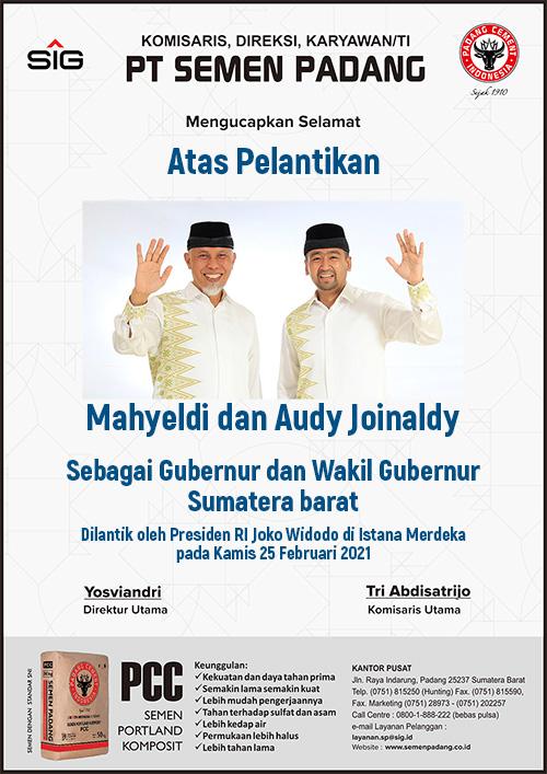 Semen Padang-Pelantikan Gubernur Mahyeldi M