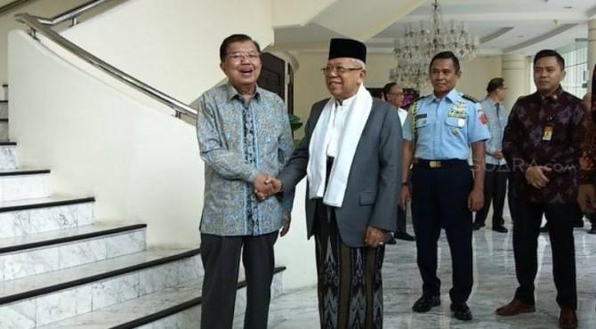 Maruf Amin saat menggelar pertemuan dengan Jusuf Kalla.