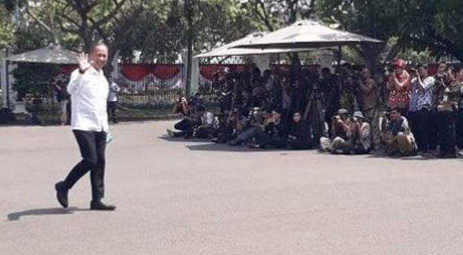 Agus Gumiwang tiba di Istana Kepresidenan, Selasa (22/10/2019).