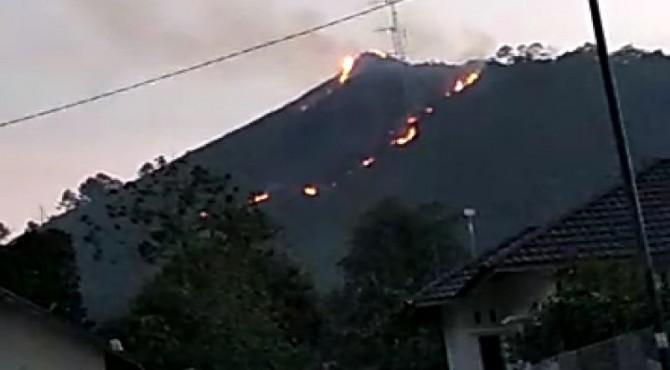 Kondisi Bukit Nyunyuang di Limapuluh Kota saat terbakar akibat adanya pembukaan lahan oleh masyarakat setempat.