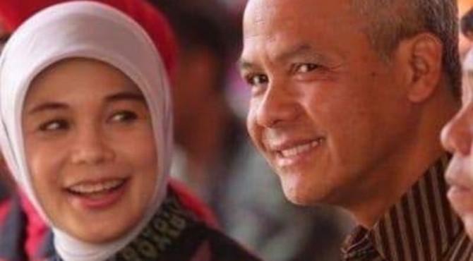 Gubernur Jawa Tengah Ganjar Pranowo dan istrinya Siti Atiqoh Supriyanti