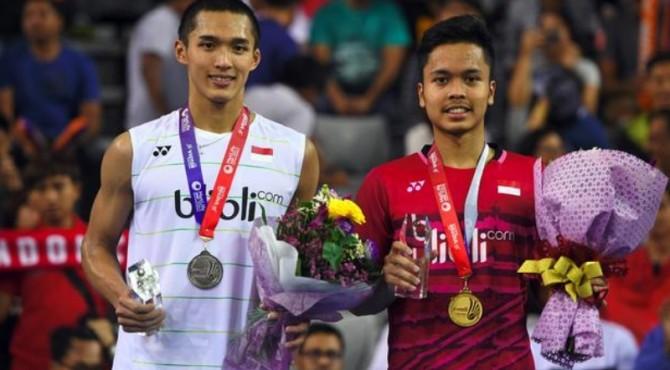 Jonathan Cristie dan Anthony Ginting diberi target juara di Indonesia Open 2019