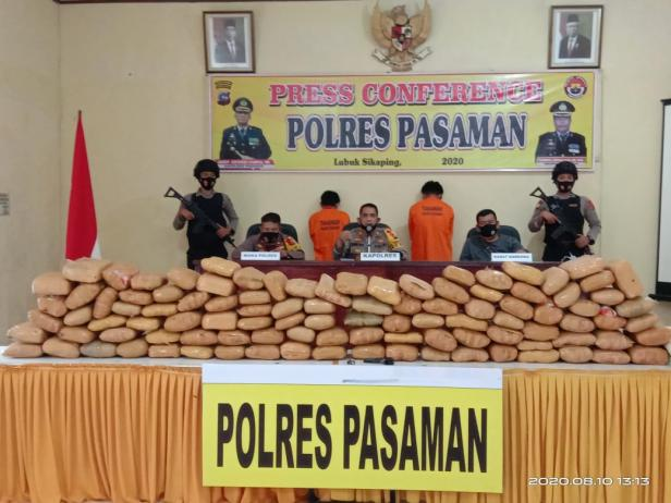 Pelaku dan Barang bukti sebanyak 102 paket besar ganja kering yang telah diamankan di Mako Polres Pasaman