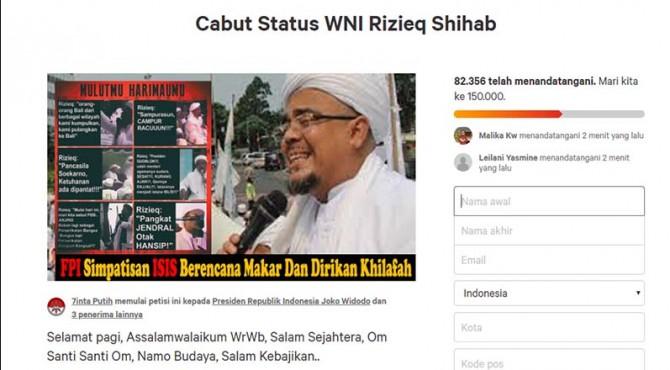 Petisi yang meminta mencabut status WNI Habib Rizieq.