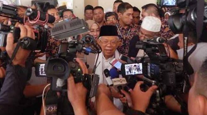 Calon wakil presiden 02 Ma'ruf Amin saat hadir di GOR M Yamin, Kota Payakumbuh, Kamis 7 Februari 2019