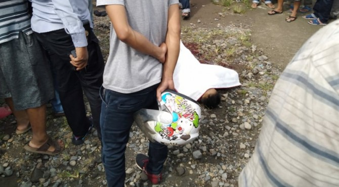 Jenazah Bayu yang ditemukan meninggal dunia di Lubuk Begalung, Padang