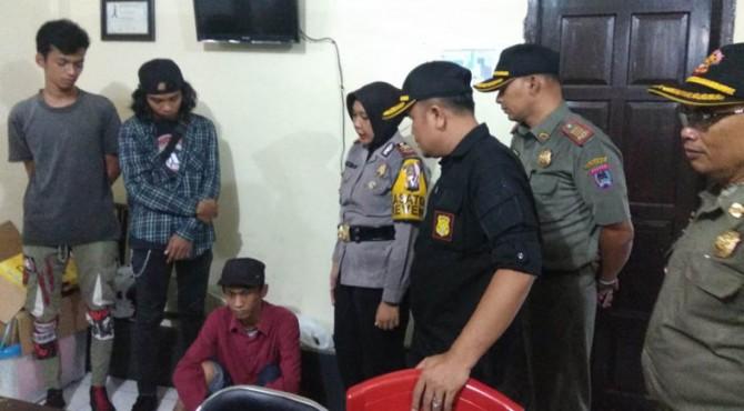Tiga gepeng yang diamankan Satpol PP Kota Payakumbuh.
