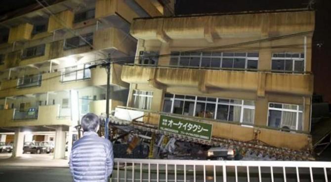 Gempa merusak bangunan di Kumamoto, Jepang bagian selatan. Foto diambil oleh Kyodo (16/4)