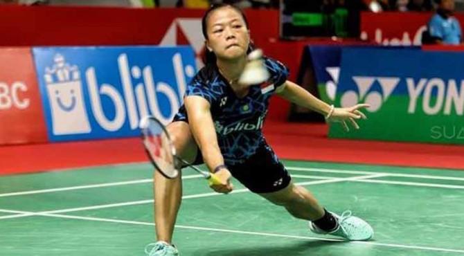 Pebulutangkis tunggal putri Indonesia, Fitriani, menang atas Line Hojmark Kjaersfekdt (Denmark) di babak pertama Indonesia Masters 2019 di Istora Senayan, Jakarta, Rabu (23/1).