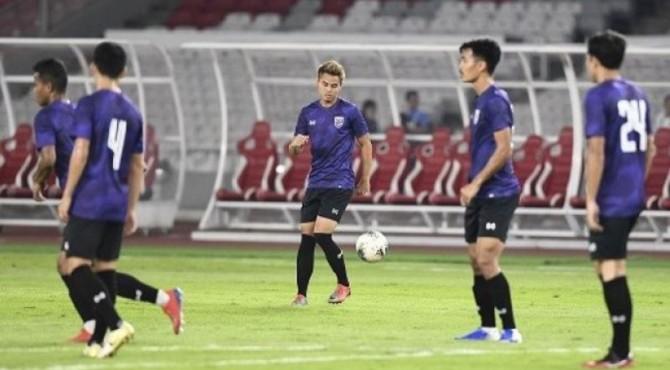 Latihan para pemain Timnas Thailand.