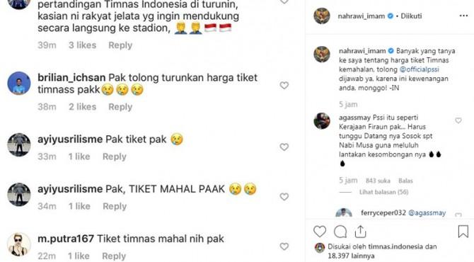 Menpora posting pengaduan warganet melalui akun Instagram