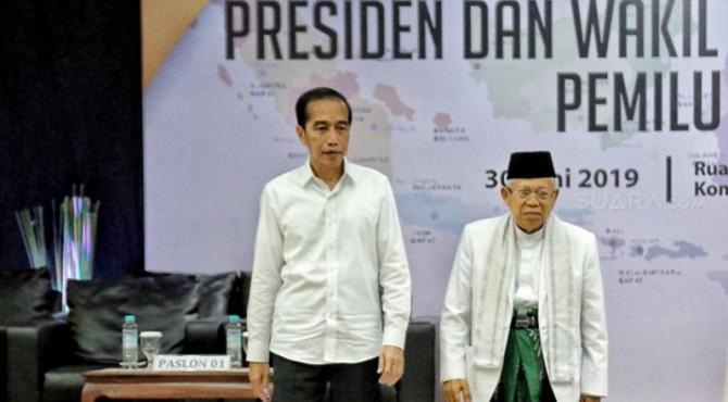 Presiden dan Wakil Presiden terpilih, Jokowi dan Ma'ruf Amin.