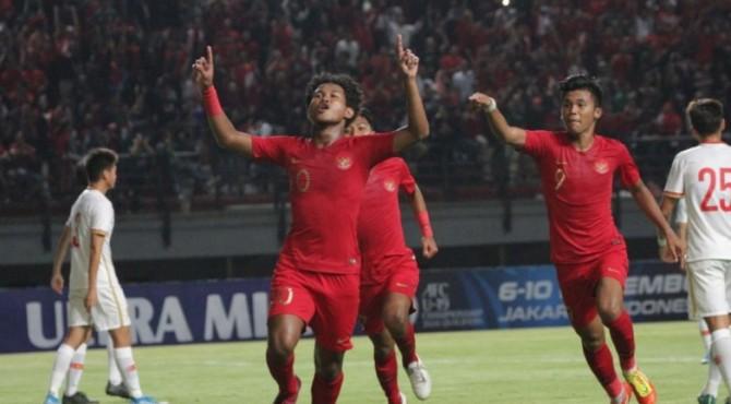 Selebrasi pemain Timnas Indonesia U-19 usai mencetak gol