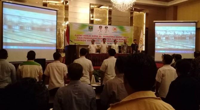 Komite Olahraga Nasional Indonesia (KONI) Sumatera Barat melakukan pemilihan tuan rumah Pekan Olahraga Provinsi (Porprov) untuk tiga pelaksanaan Porprov hingga tahun 2026.