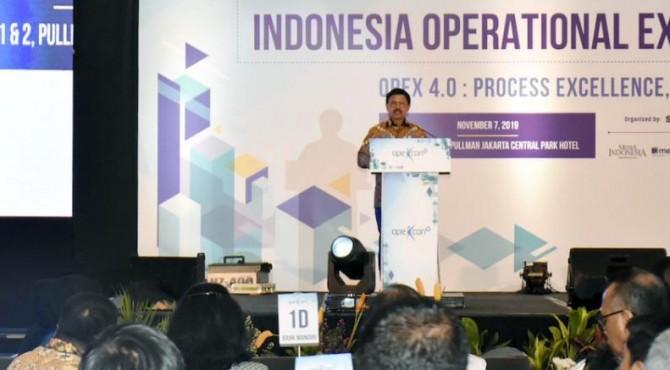 Menteri Johnny saat mewakili Presiden Joko Widodo membuka acara OPEXCON 2019 di Hotel Pullman, Jakarta Barat, Kamis (7/11/2019) siang