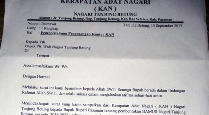 Surat KAN kepada Plt Wali Nagari Tanjung Betung