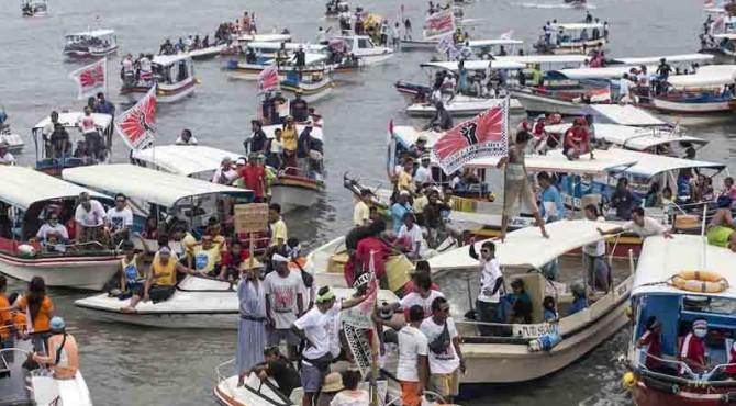 Aksi penolakan reklamasi Teluk Benoa di Bali.