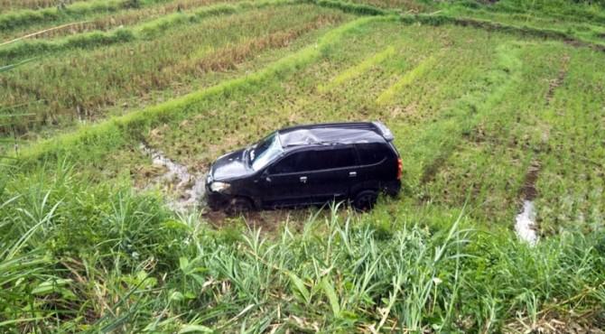 Mobil masuk sawah di Palupuah akibat hilang kendali