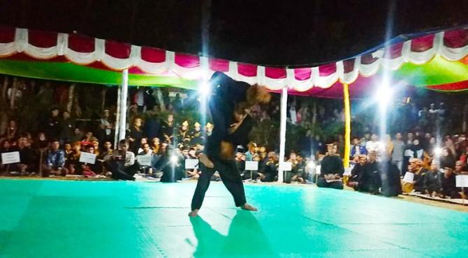 Atraksi pertunjukan silat saat silaturrahmi silek tuo di Nagari Selayo