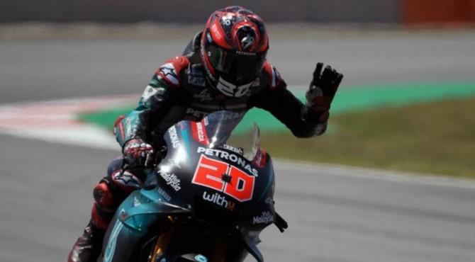 Pebalap Petronas Yamaha SRT, Fabio Quartararo, meraih pole position setelah jadi yang tercepat pada kualifikasi MotoGP Catalunya di Sirkuit Montmelo, Sabtu (15/6/2019).