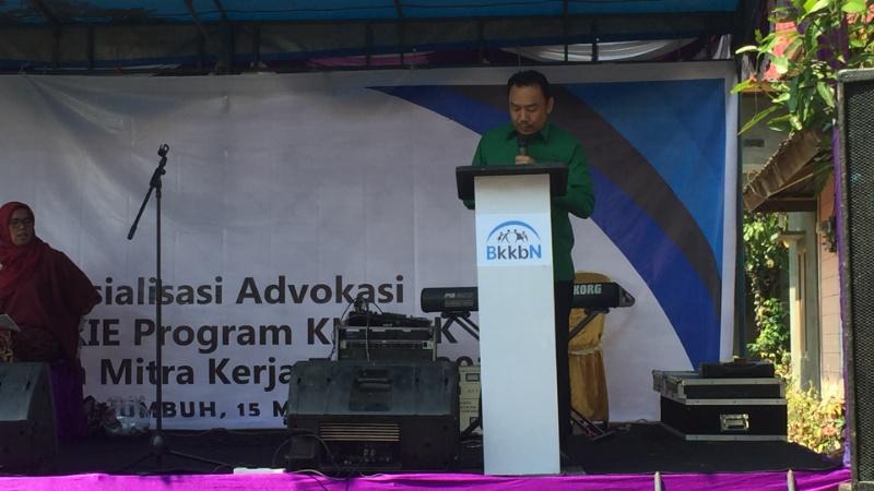 Anggota DPR RI Muhammad Iqbal menyampaikanbkatabsambutan saat acara sosialisasi yang digelar BKKBN