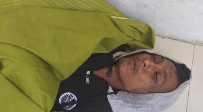 Jasad Arnold Freddy saat ditemukan di Tanjungkarang, Bandar Lampung, Selasa (12/11/2019).