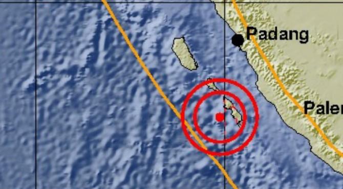 Pusat gempa yang mengguncang Sumbar hari ini