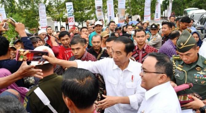 Presiden Jokowi saat melakukan peremajaan tanaman di Desa Panca Tunggal, Kecamatan Sungai Lilin, Kabupaten Musi Banyuasin, Jumat (13/10).