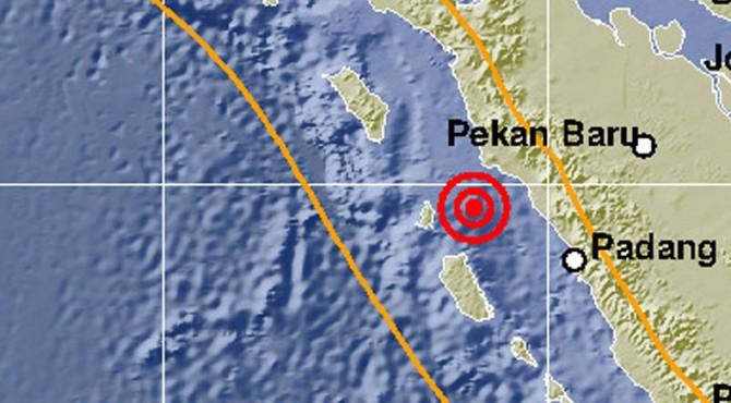 Peta lokasi gempa di wilayah Pasbar