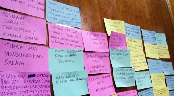 Kertas Aspirasi dari peserta Lokakarya yang diadakan Disdukcapil Padangpariaman di Gedung Saiyo Sakato, Padangpariaman