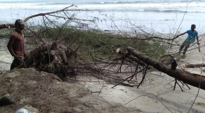 Kodisi Kawasan Konservasi Penyu Ampingparak Pessel yang dilanda abrasi pantai