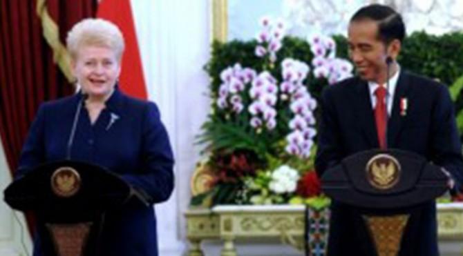 Presiden Jokowi saat menyampaikan pernyataan bersama dengan Presiden Dalia Grybauskaitè, di Istana Merdeka, Jakarta, Rabu,(17/5).