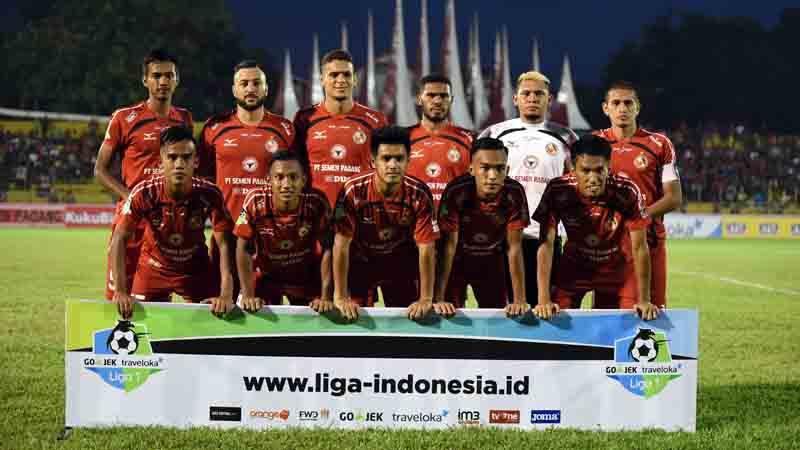 Line up Semen Padang FC saat melawan Sriwjaya FC.
