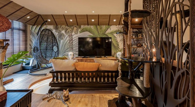 Dirancang setelah gagasan resor liburan Bali, flat Buangkok Crescent ini memiliki tampilan tropis yang menawan dan suasana pedesaan.